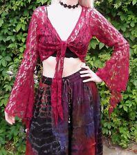 Jordash Maroon Red Floral Stretch Lace Bolero Shrug Gothic Boho Gypsy  M L XL