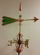 Beautiful unique ARROW GREEN GLASS COPPER WEATHERVANE, Sold as shown.