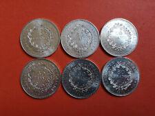 Lot 6 pièces argent 50 Francs Hercule an 1974 / 75 / 76 / 77 / 78 / 79 Lot n° 1