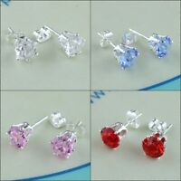 1 Pairs Czech Crystal Diamond Shape Silver Plated Stainless Steel Studs Earrings