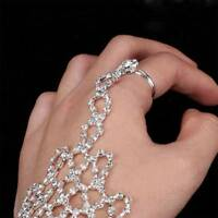 Rhinestone Bangle Chain Link Finger Ring Wedding Bride Bracelet