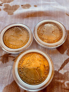 """1808(2) 1800(1) 8 Reales Mexico Spanish Colony King CARLUS """""""" Lot"""