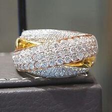 Women Jewelry 14K Yellow Gold Filled White Sapphire Ring Wedding Gift Size 6-10