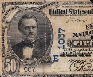 "*RARE* 1902 $50 PITTSBURGH, PA ""DATEBACK"" National Banknote! FREE SHIP! A226441"