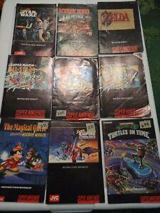Lot of 9 Super Nintendo Games manuals only Mario Zelda Star wars donkey Kong