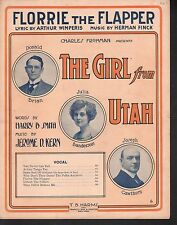 Florrie Was A Flapper 1914 The Girl From Utah Large Format Sheet Music