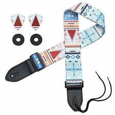 Adjustable Sweet Blue Guitar Strap wPremium Leather Ends Strap Locks&Strap Picks