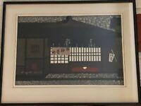 """Kiyoshi Saito Japanese Woodblock Print """"Teahouse"""" Edo Ukiyoe Art Work Signed"""