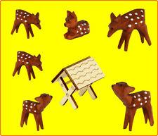 6 geschnitzte Rehe und Krippe braun aus Holz Weihnachtsdeko Basteln Pyramiden