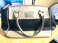 Tignanello Black and Tan Genuine Leather Purse Bag Handbag Good Looking