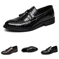 British Mens Dress Formal Faux Leather Shoes Pointy Toe Oxfords Slip on Casual D