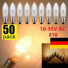 50 Stück E10 LED-Ersatzlampen Glühbirnen Topkerze für Lichterkette 10V-55V AC DE