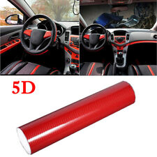 "12""x60"" 5D Ultra Shiny Gloss Glossy Red Carbon Fiber Vinyl Wrap Sticker Decal"