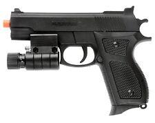 Spring Airsoft Pistol Hand Gun w LED Laser Sight Flashlight + 6mm BBs BB