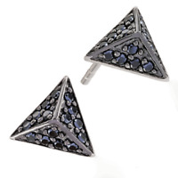 SIF JAKOBS Pecetto Piccolo Black Cubic Zirconia Pyramid Earrings E1853 RRP £69