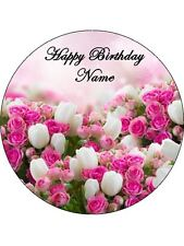 FLOWERS TULIPS & ROSES 19CM EDIBLE ICING IMAGE CAKE TOPPER #1