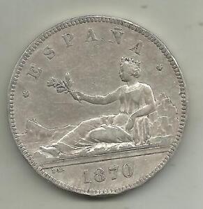 SPAIN 5 PESETAS 1870  REPUBLICA. SILVER COIN . VF CONDITION. 3RW 27 OCT