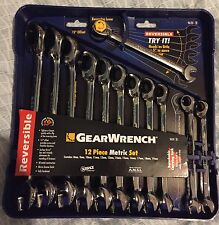 GearWrench 12-Pc 12-Pt Metric Reversible Combo Ratchet Wrench Set 9620 New