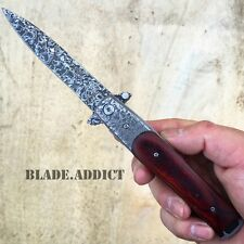 "8"" TAC FORCE Italian Milano Stiletto Damascus Spring Assisted Open Pocket Knife"