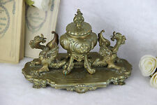 French antique bronze dragons gothic inkwell desk