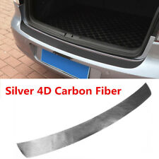 Rear Bumper Protection Carbon Fiber Sticker Silver