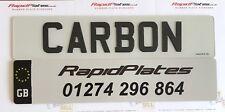 3d Carbon Fibre Effect Black Resin Gel Domed Raised Car Number Plates Pair Set