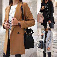 Womens Warm Woolen Trench Coat Ladies Winter Long Sleeve Casual Jacket OvercoG^r