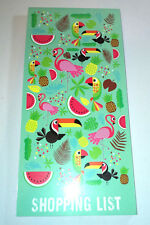 Tropicalia SHOPPING LIST JOTTER PAD Fourth Wall PINK PAGES Flamingo Parrot Melon
