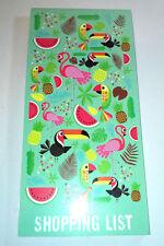 Lista de compras Tropicalia Jotter Pad páginas de Pared Cuarto Rosa Flamingo Loro Melón