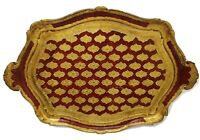 Vintage Italian Florentine Handled Wood Tray Red Gold Platter READ SEE PICS