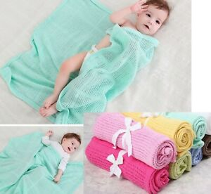 Summer Cotton Baby Blanket Candy Colours Infant Newborn Travel Breathable Throw