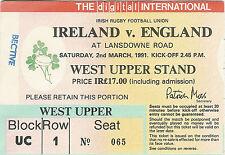 IRELAND v ENGLAND 2 Mar 1991 RUGBY TICKET GRAND SLAM SEASON FOR ENGLAND