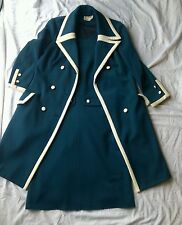 Vtg Navy Blue and White Piping Wool and Dacron Blend Peacoat and Matching Dress
