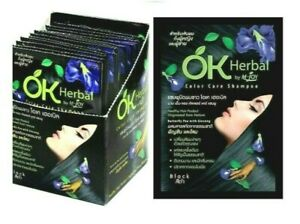 OK Herbal Easy White Hair Cover Shampoo Last Long Color Ginseng & Pea extract x6