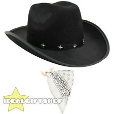 COWBOY HAT AND PAISLEY BANDANA WILD WESTERN FANCY DRESS COSTUME ACCESSORY SET