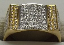 SOLID 22CT YELLOW GOLD CUBIC ZIRCONIA MEN'S DRESS RING - SIZE S