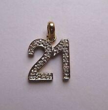 9ct Gold 0.04ct Diamond set 21st Birthday pendant