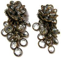 "Vintage Designer Sorrelli Waterfall Austrian Clear Crystal Clip Earrings 2"""