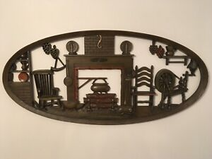 Vintage Burwood Products Cabin Wall Hanging Plaque Home Decor Collectible