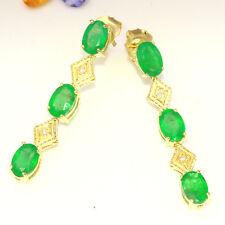3.60 Carat Natural Emerald 14K Solid Yellow Gold Diamond Earrings