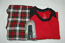 Mens L/S Pajamas Set RED BLACK RAGLAN TOP Plaid Flannel Pants HANES Size XL