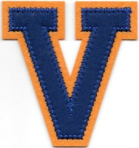 """2 1/2 """" Grand Bleu Orange Bloc Letterman's Lettre V Feutre Patch"""