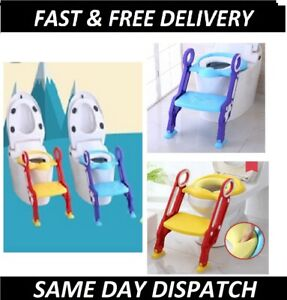 Portable Potty Toilet Seat Adjustable Baby Toddler Kid Trainer Step Stool Ladder