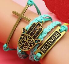 Girls Ladies Leather Blue Bronze Hope Cross Lucky Hand Charm Bracelet Gift