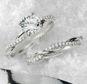 1.48 CT White Round Diamond Engagement Wedding Ring Set In Solid 14K White Gold