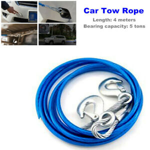 1PC Car Steel Wire Tow Rope with iron Grab Hook 4 meters 5 tons Bearing Capacity