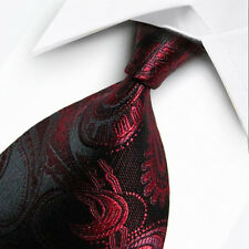 UK1014 Black Red Paisley New Silk Classic JACQUARD Woven Men's Tie Necktie