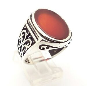 925 STERLING SILVER HANDMADE RED OVAL AGATE MEN'S TURKISH OTTOMAN RING USA 9