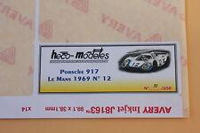 QH 1 ex étiquette autocollant Heco modeles Porsche 917 LH Me N°12 Mans 1969
