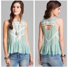 Free People Top Green White Striped Peplum Lace Crochet Back Cutout S EUC